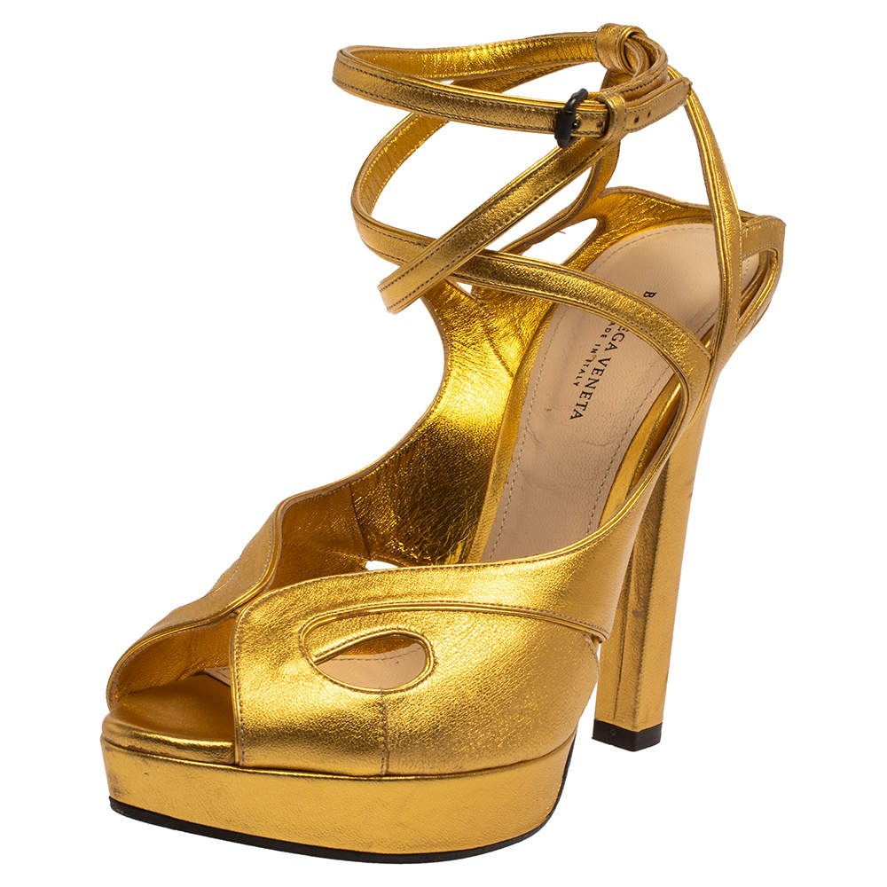 Bottega Veneta Gold Leather Cut-Out Criss Cross Platform Ankle Strap Sandals Size 38.5