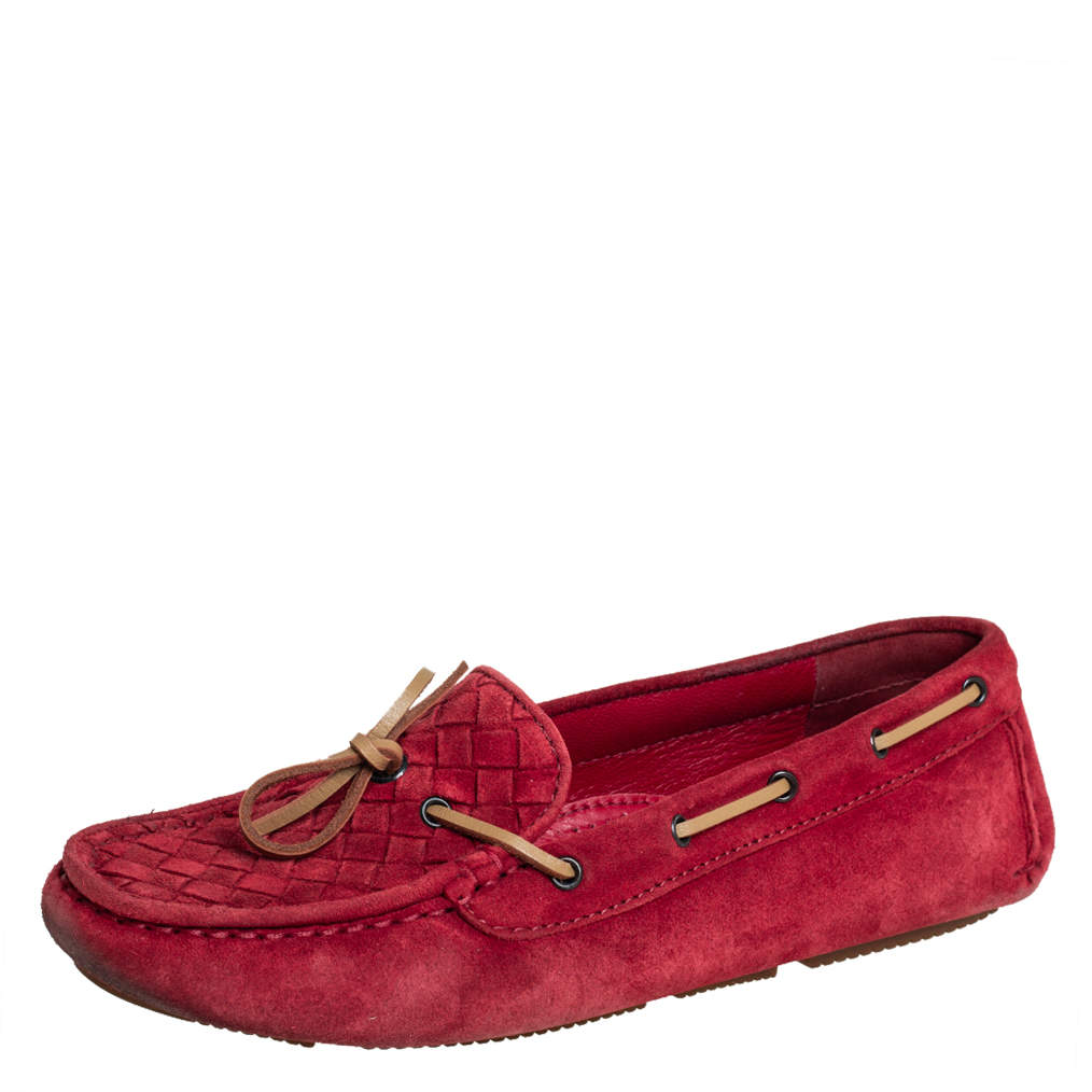 Bottega Veneta Red Intrecciato Suede Slip On Loafers Size 37