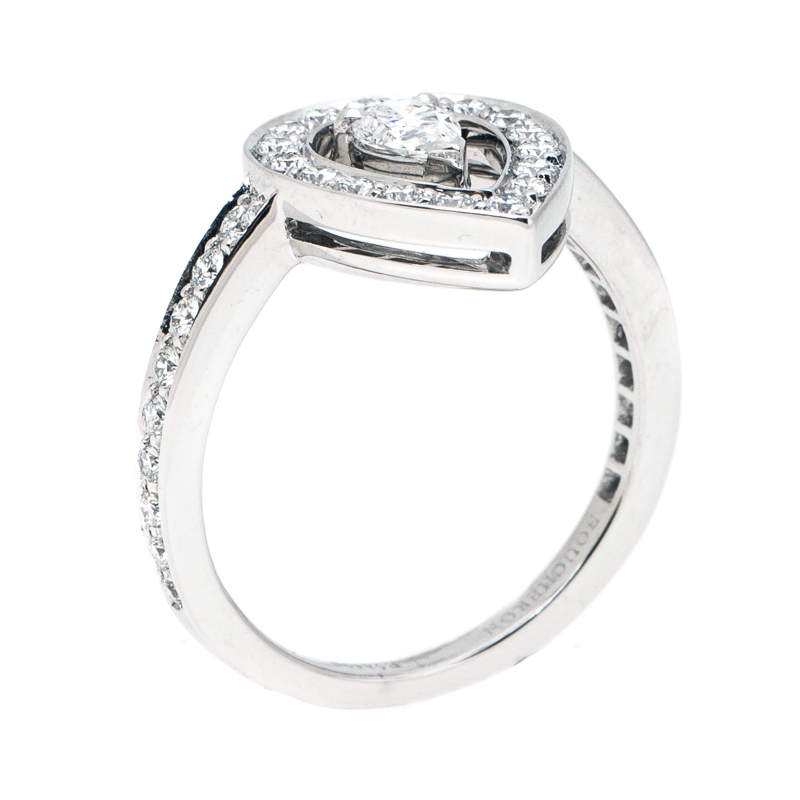 Boucheron Ava Pear Diamond 18k White Gold Ring Size 53