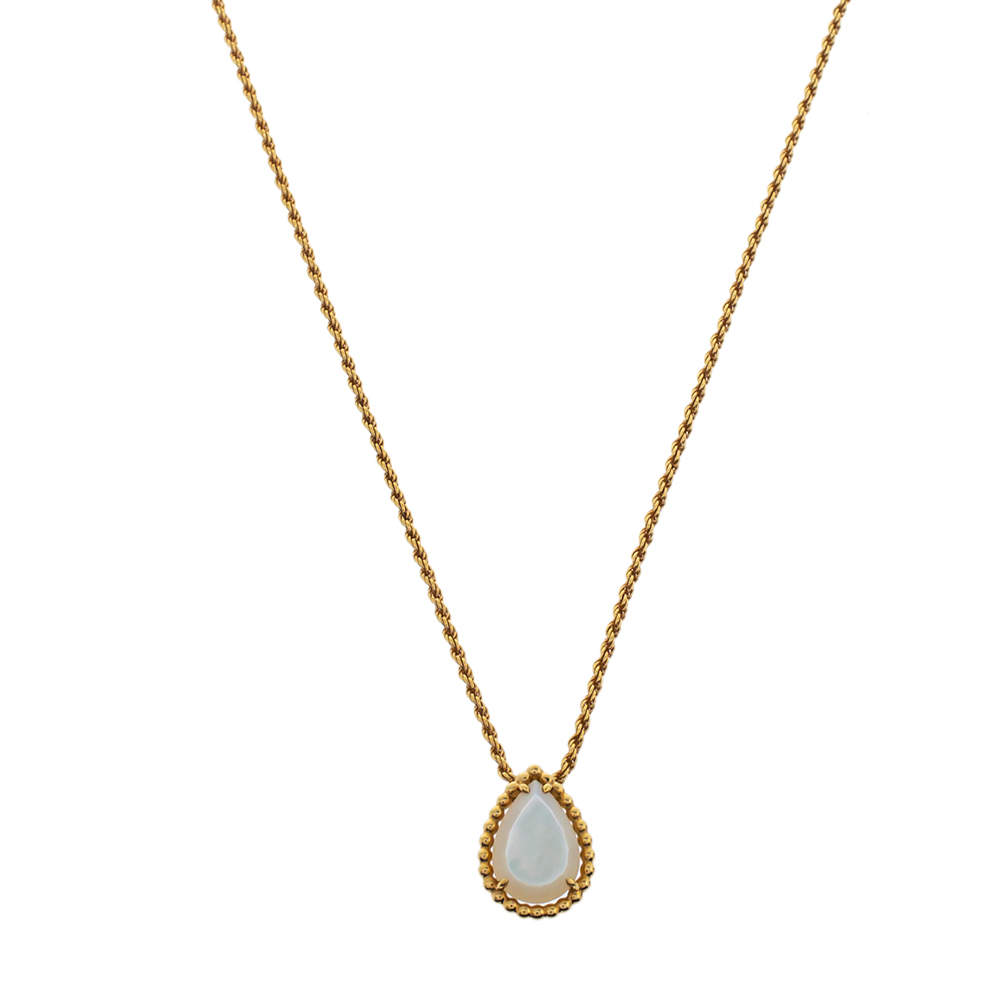Boucheron Serpent Boheme Mother of Pearl 18K Yellow Gold  Pendant Necklace