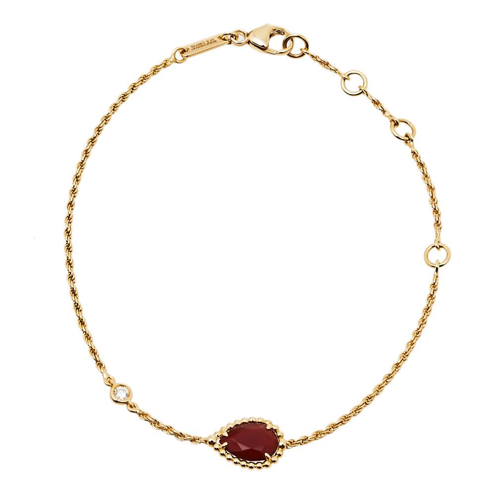 Boucheron Serpent Boheme Diamond Carnelian 18K Yellow Gold Bracelet XS