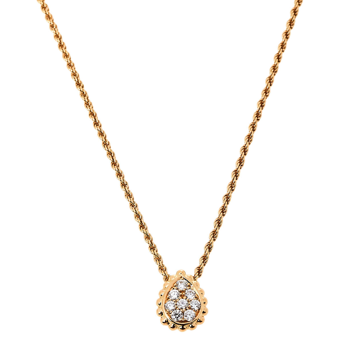 Boucheron Serpent Boheme Diamond 18K Rose Gold XS Motif Necklace