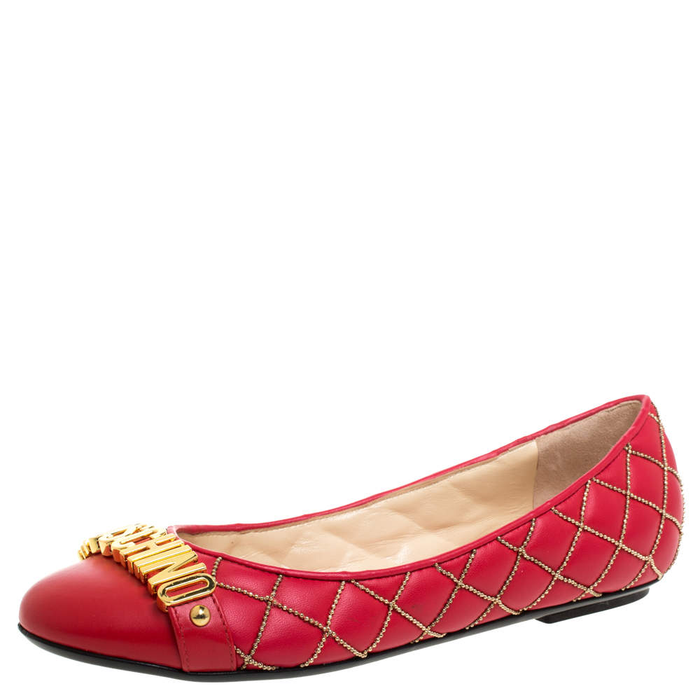 Boutique Moschino Red Quilted Chain Leather Logo Ballet Flats Size 38