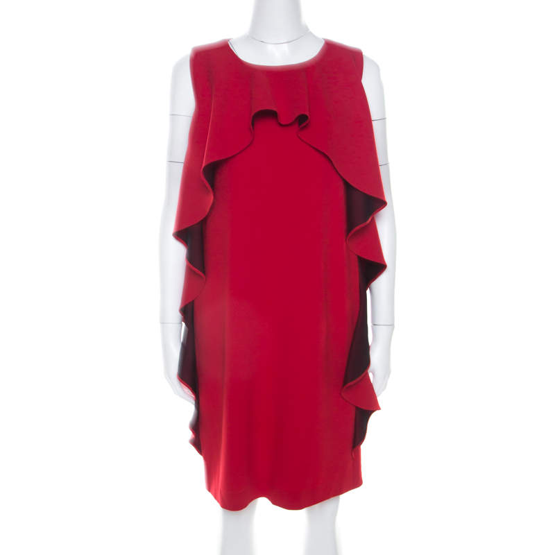Boutique Moschino Red Crepe Knit Ruffle Front Sleeveless Shift Dress M