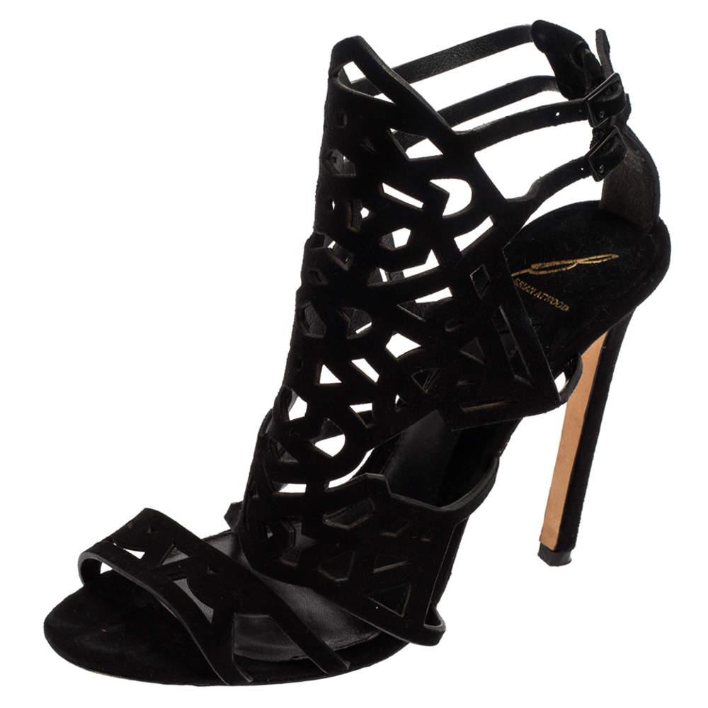 Brian Atwood Black Suede Laplata Laser Cut Sandals Size 41