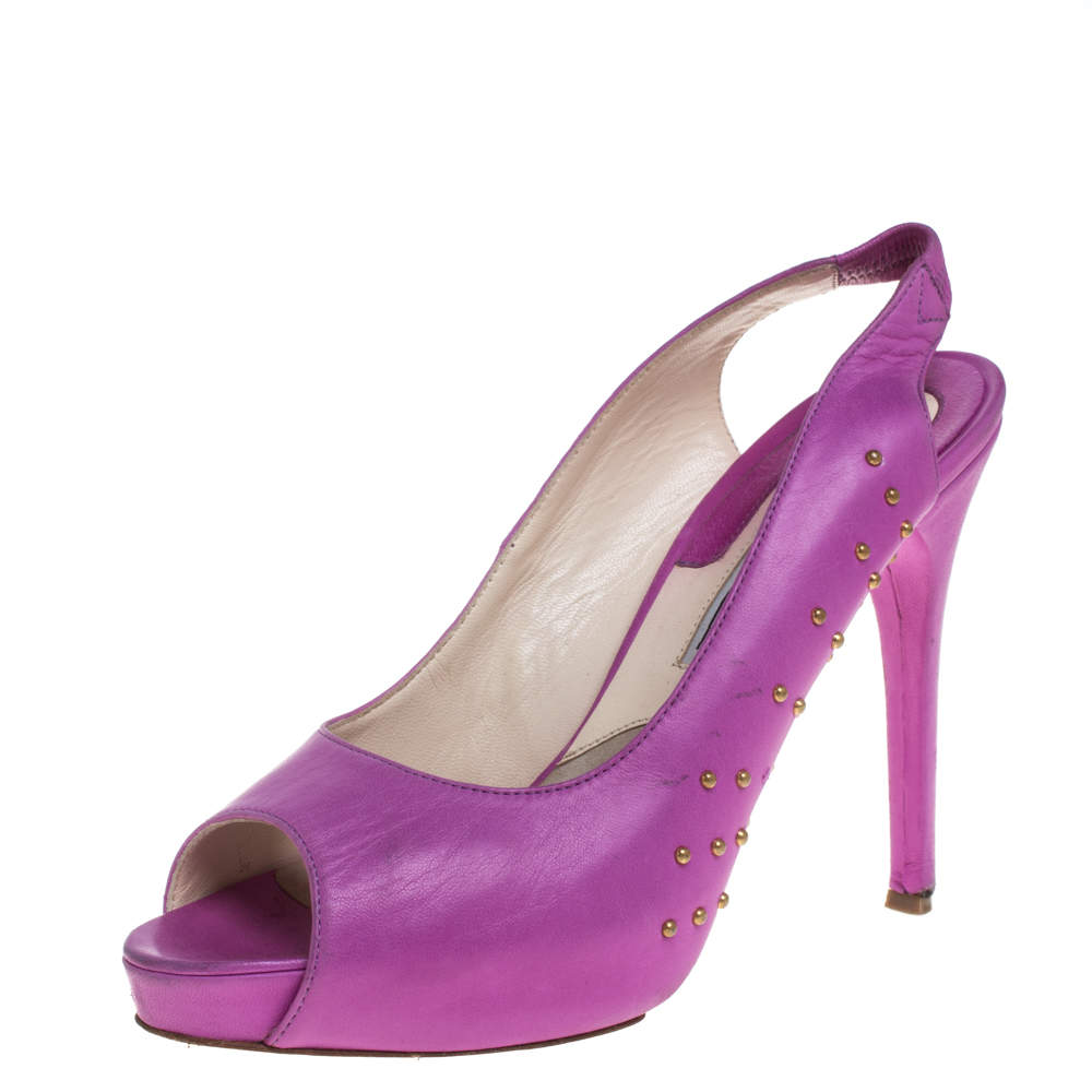 Brian Atwood Pink Leather Studded Peep Toe Slingback Sandals Size 38