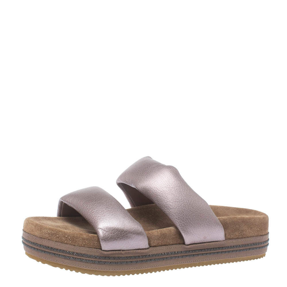 Brunello Cucinelli Metallic Purple Leather Flat Slides Size 38