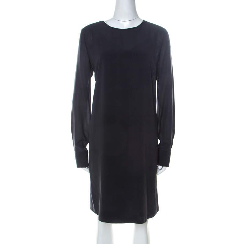 Brunello Cucinelli Grey Silk Chiffon Long Sleeve Tunic L
