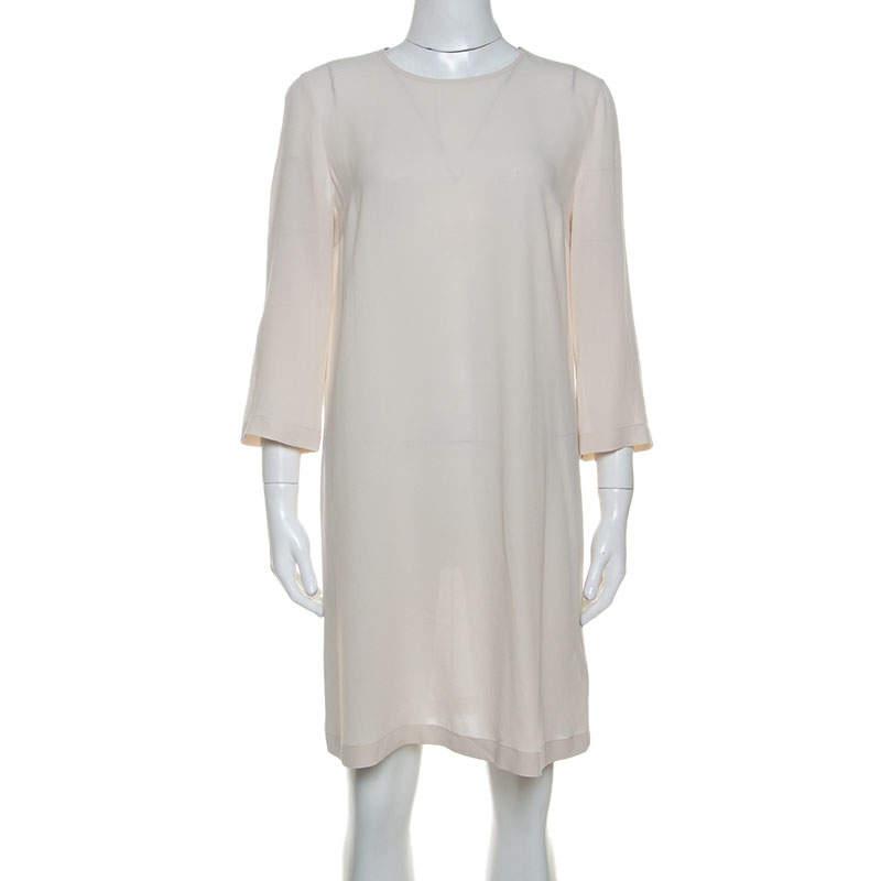 Brunello Cucinelli Cream Silk Beaded Collar Detail Shift Dress M