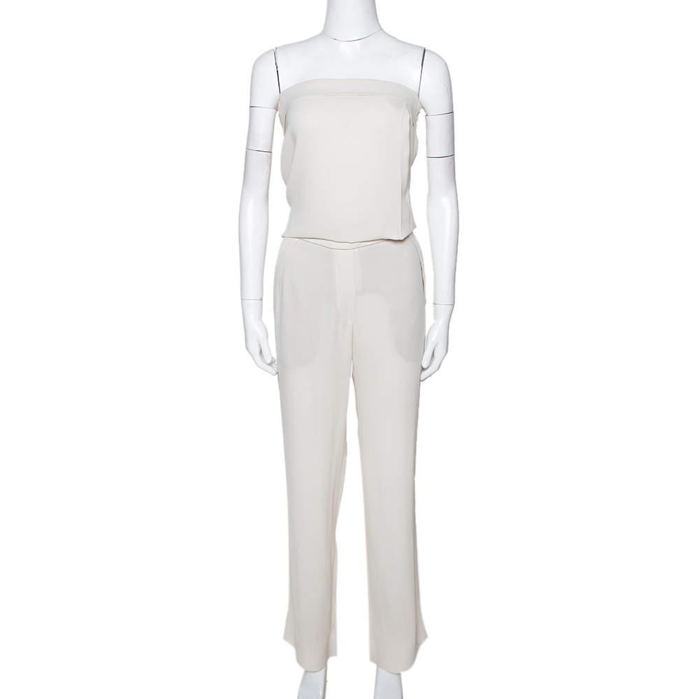 Brunello Cucinelli Cream Silk Crepe Strapless Jumpsuit S
