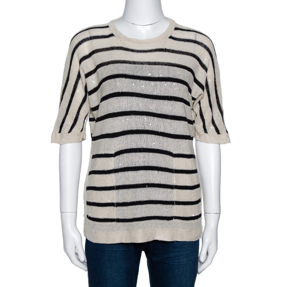 Brunello Cucinelli Beige Sequined Linen & Silk Knit Jumper M