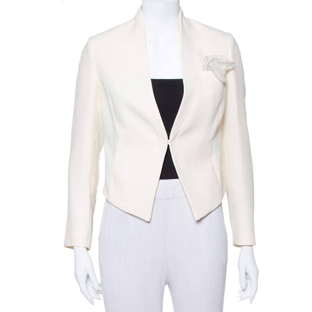 Brunello Cucinelli Cream Wool Crepe Asymmetric Hem Cropped Blazer S