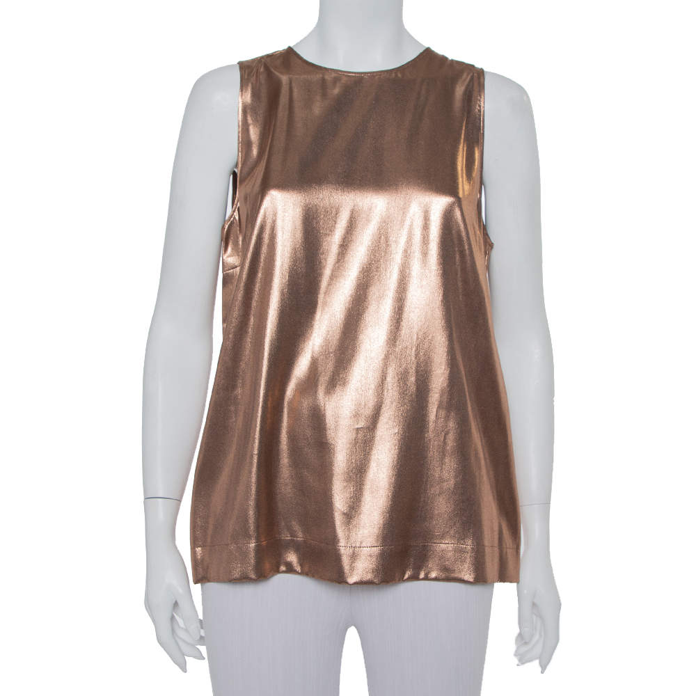 Brunello Cucinelli Metallic Brown Silk Sleeveless Top XXL