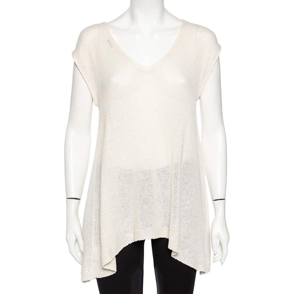 Brunello Cucinelli Off-White Linen Knit Embellished Asymmetrical Sweater XL