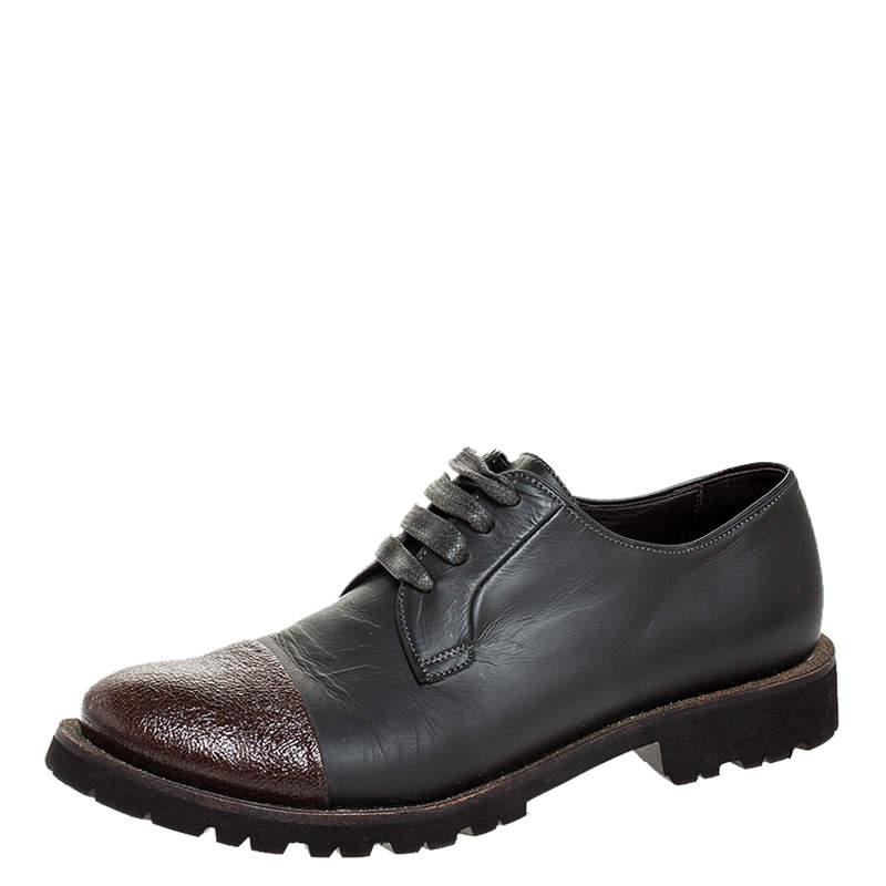 حذاء أوكسفورد برونيللو كوتشينيلي بمقدمة بنية و برباط جلد رصاصي داكن و بني مقاس 37