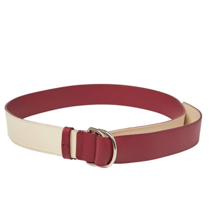 Burberry Wine Red/Ivory Leather Double D Ring Reversible Belt 120 CM