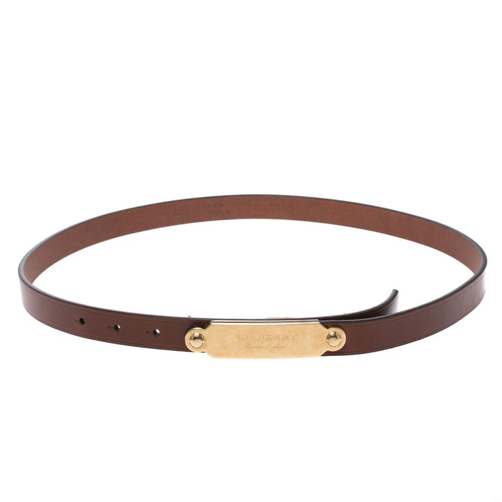 Burberry Brown Leather Reese Slim Belt 90CM