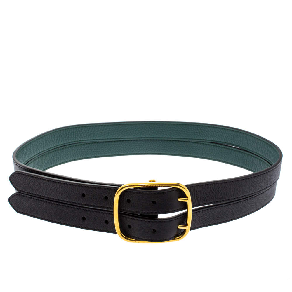 Burberry Black/Green Leather Lynton Double Strap Belt 85CM