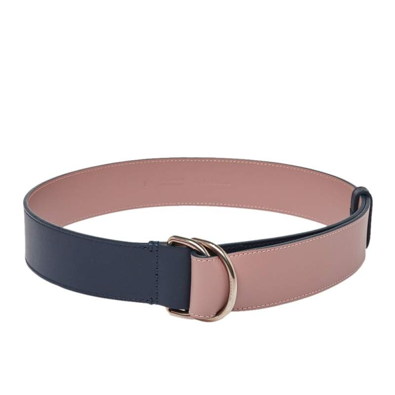Burberry Navy Blue/Old Rose Leather Double D Ring Reversible Belt S