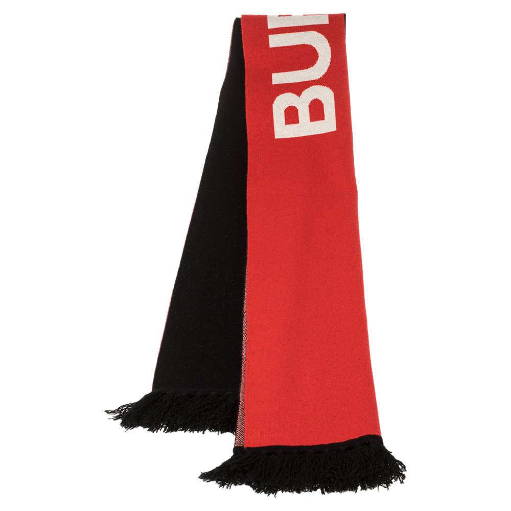 Burberry Bicolor Logo Intarsia Knit Cashmere Football Scarf