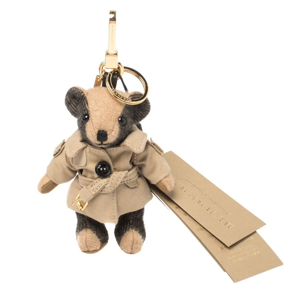 Burberry Brown Check Fabric Thomas Bear Bag Charm