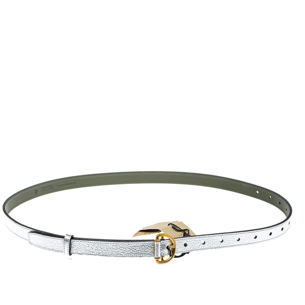Burberry Metallic Silver Leather D Ring Buckle Slim Belt 80 CM