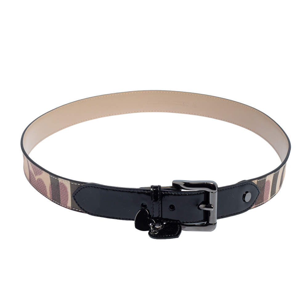 Burberry Beige/Black Supernova Check Heart PVC and Patent Leather Buckle Belt 100 CM
