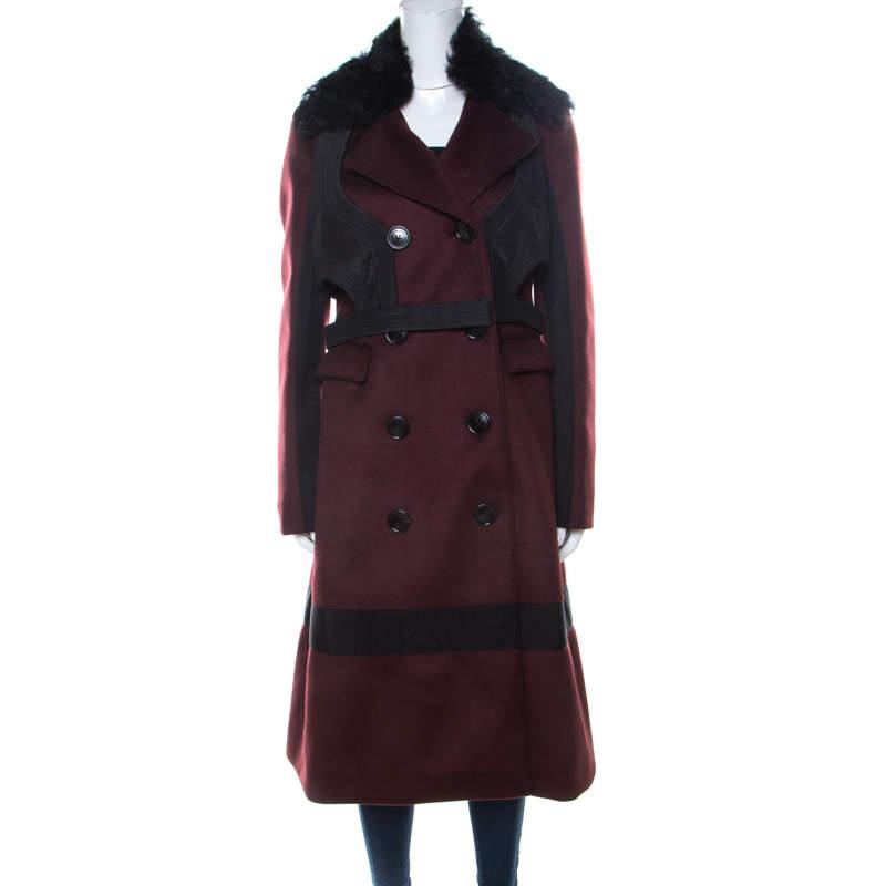 Burberry Prorsum Black Cherry Cashmere Detachable Fur Collar Trench Coat L