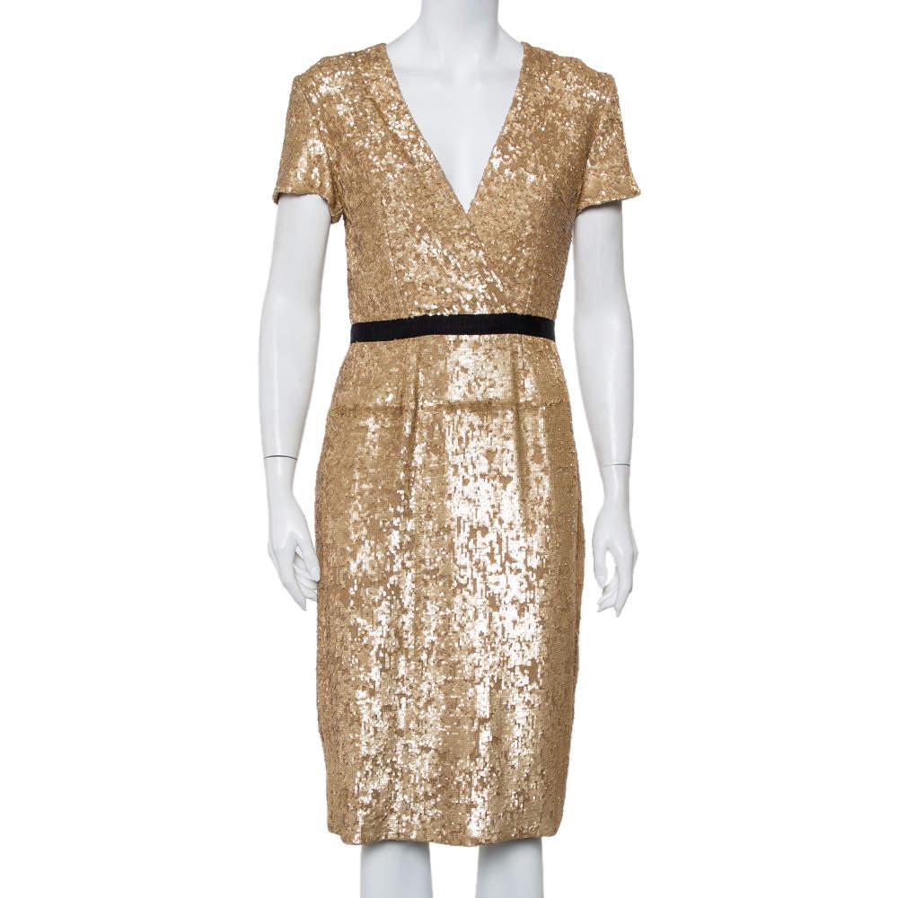 Burberry Vintage Gold Sequined V Neck Sheath Dress S