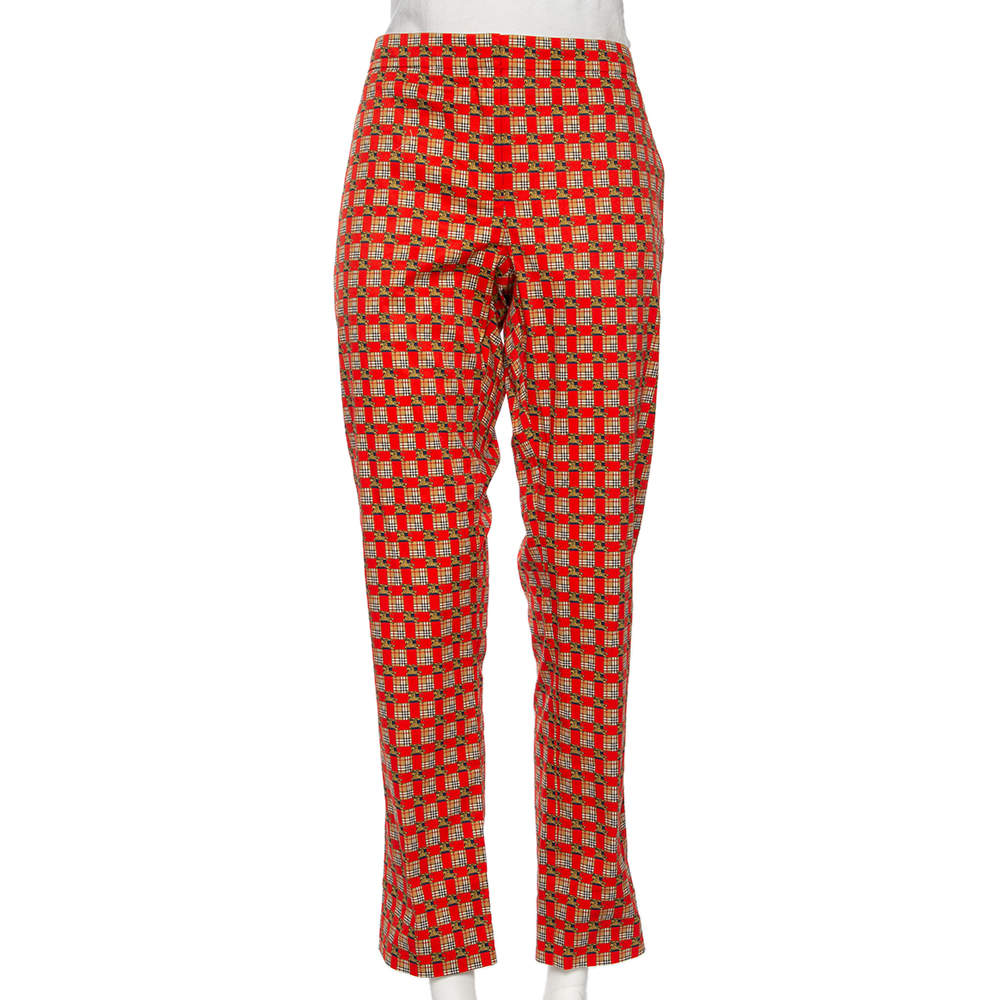 Burberry Bright Red Cotton Archive Print Pat Hanover Cigarette Pants M