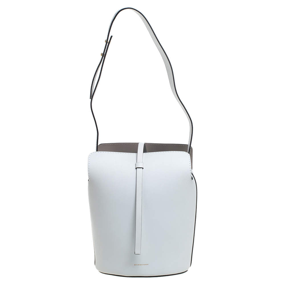Burberry White Leather Small Bucket Bag