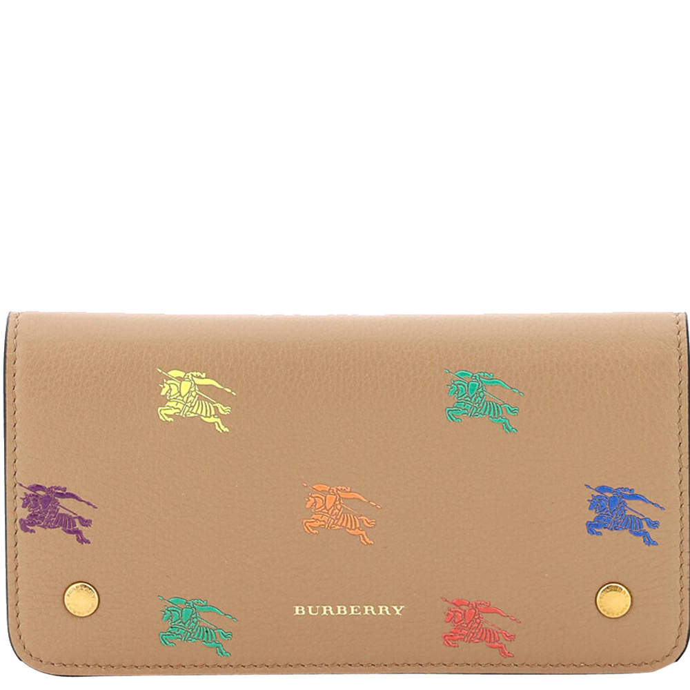 Burberry Brown/Multicolor Leather Equestrian Knight Wallet