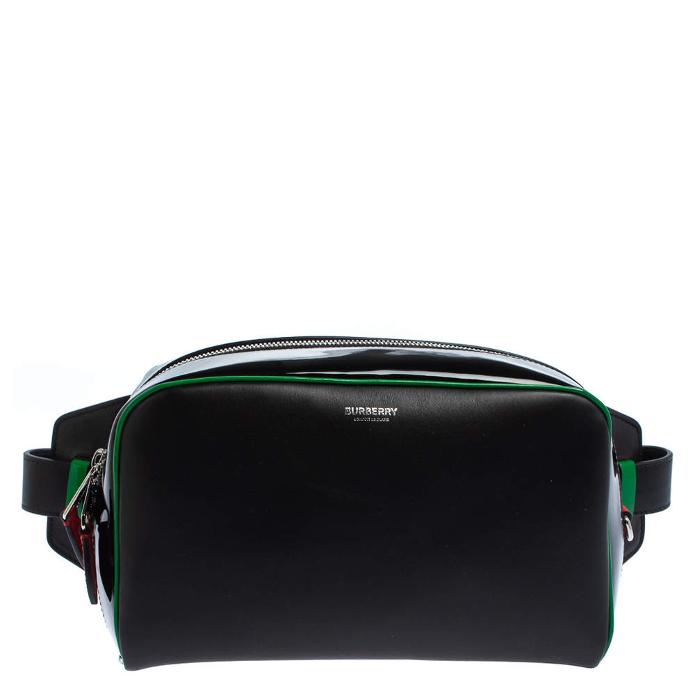 Burberry Black Leather and Patent Leather Cube Bumbag