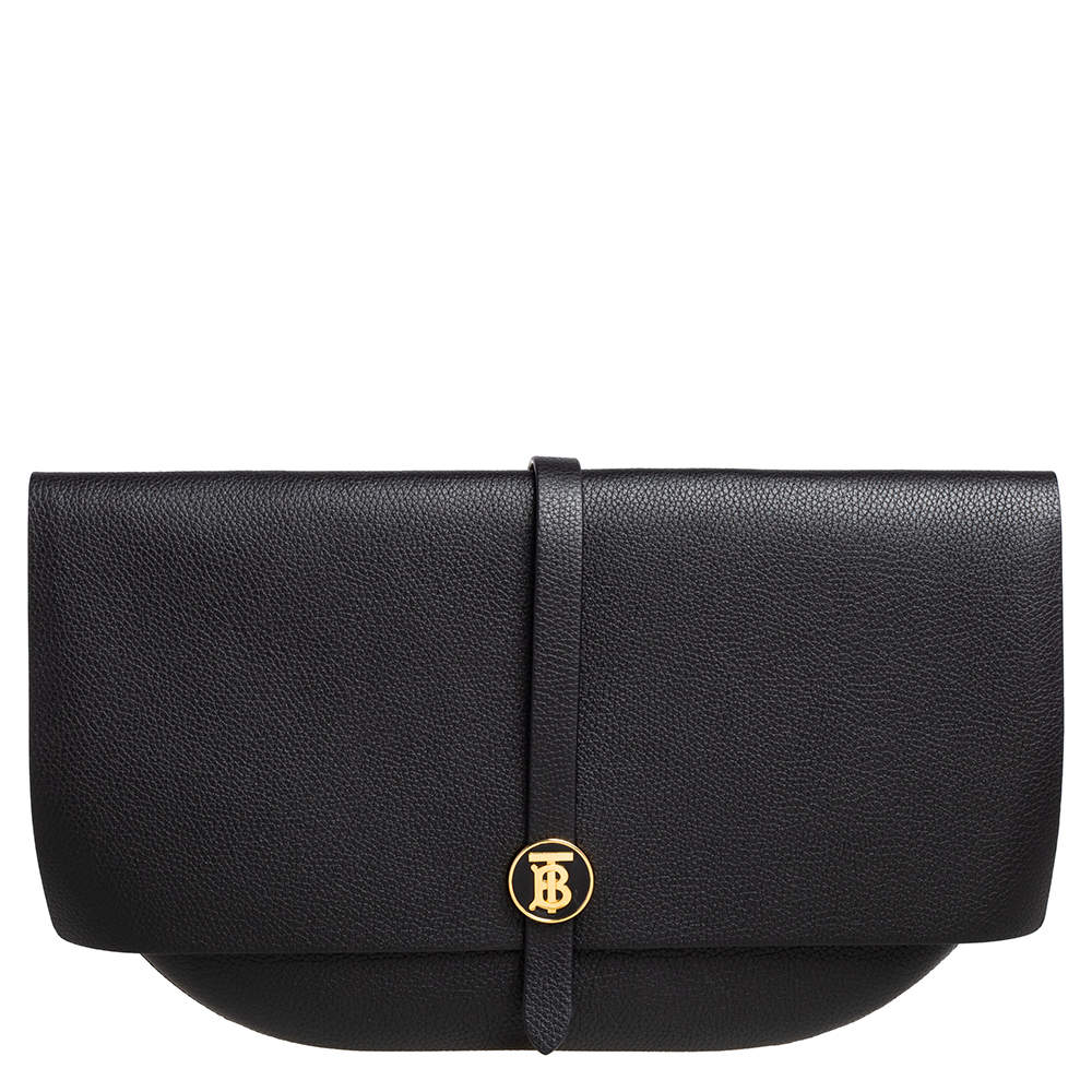 Burberry Black Grained Leather Anne Clutch