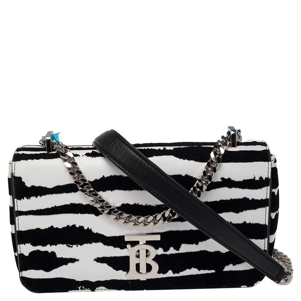 Burberry Zebra Print Velvet and Leather Lola Crossbody Bag