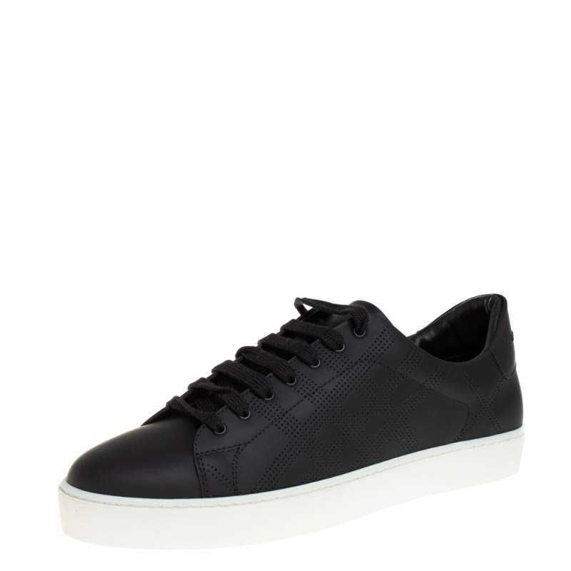 Burberry Black Perforated Check Leather Westford Low Top Sneakers Size 41