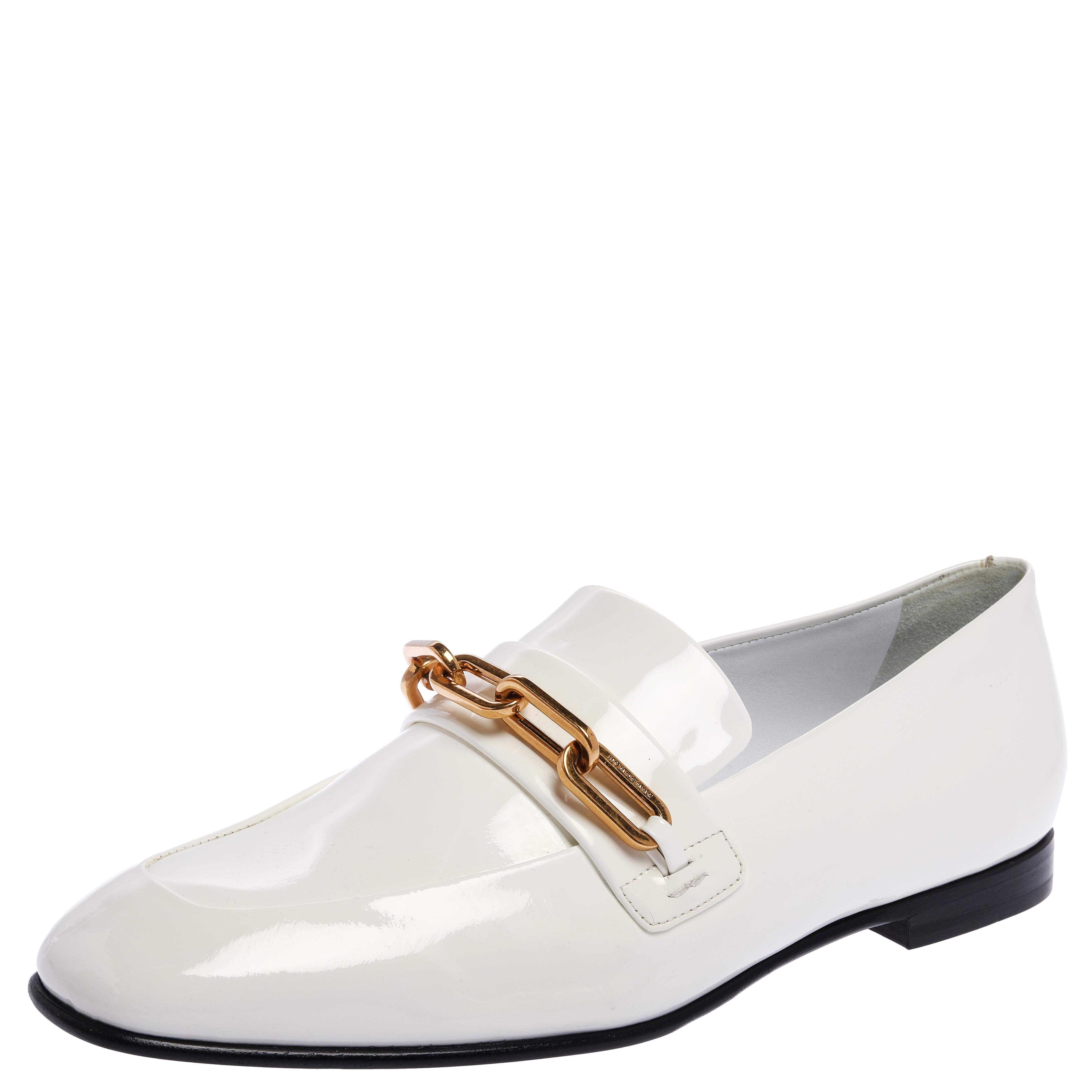 Burberry White Patent Leather Chain Link Loafers Size 39.5