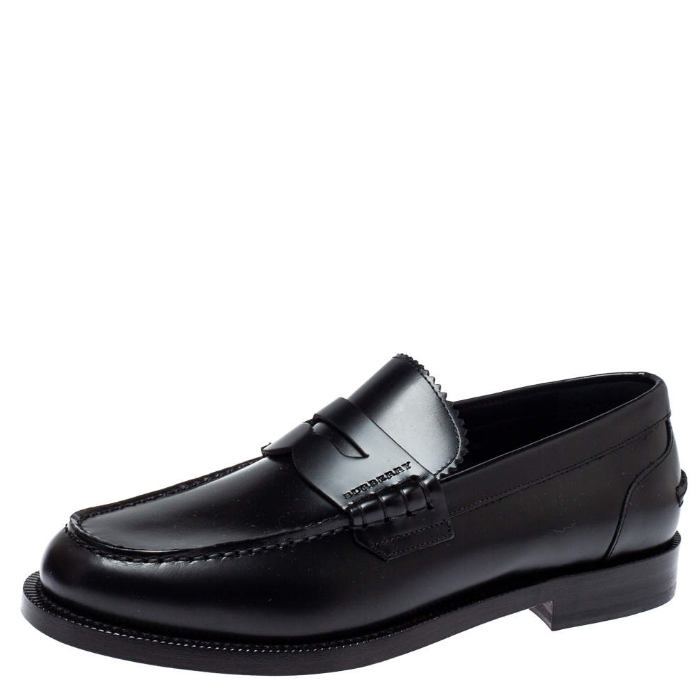 Burberry Black Leather Bedmont Penny Loafers Size 39.5