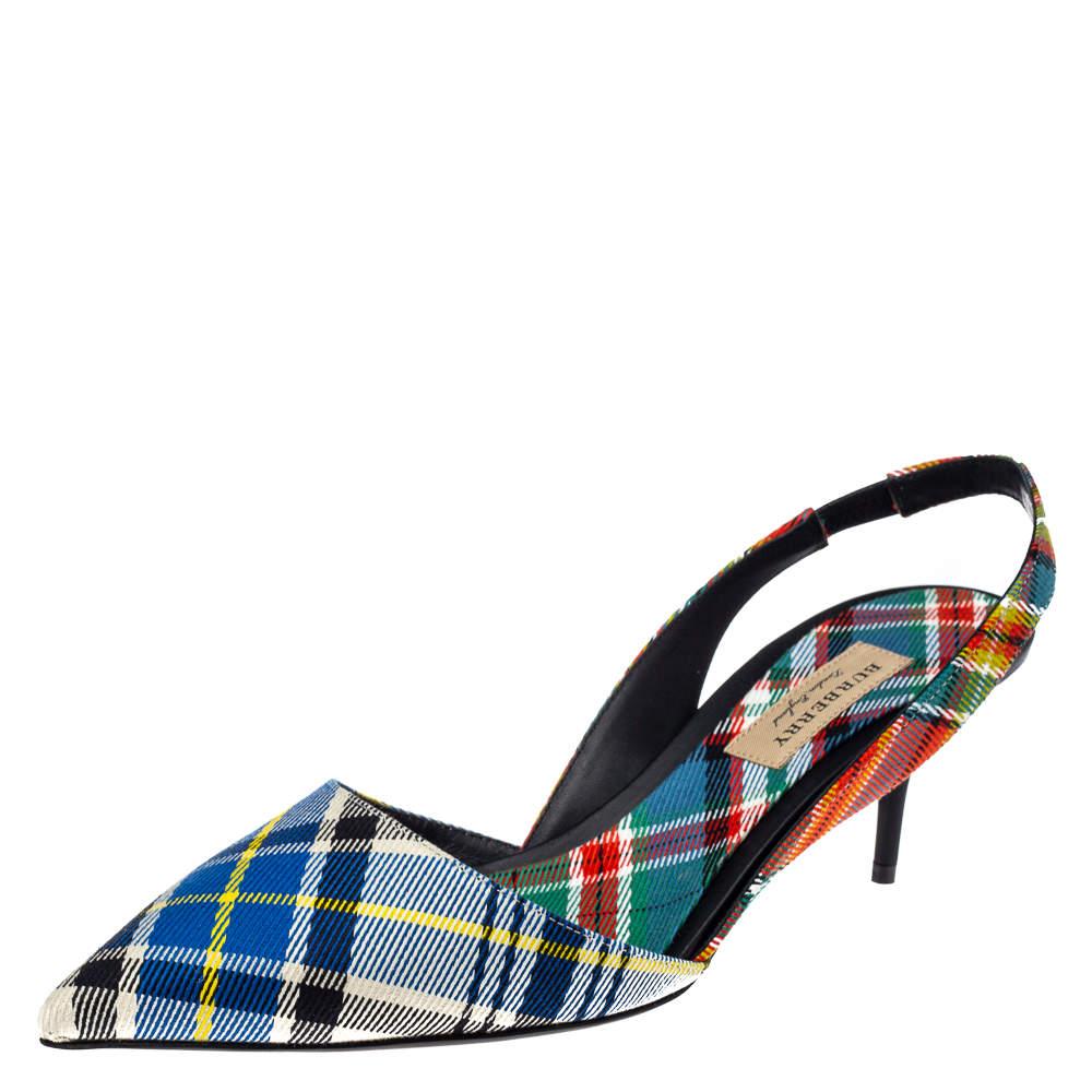 Burberry Multicolor Canvas Annice Tartan Slingback Sandals Size 40