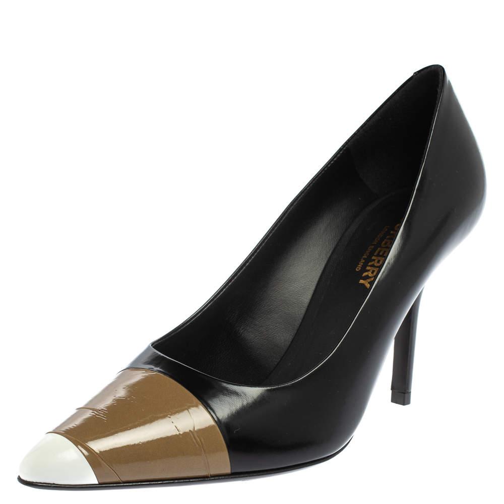 حذاء كعب بربرى أناليسا مقدمة مدببة جلد لامع وجلد بنى / أسود مقاس 37.5