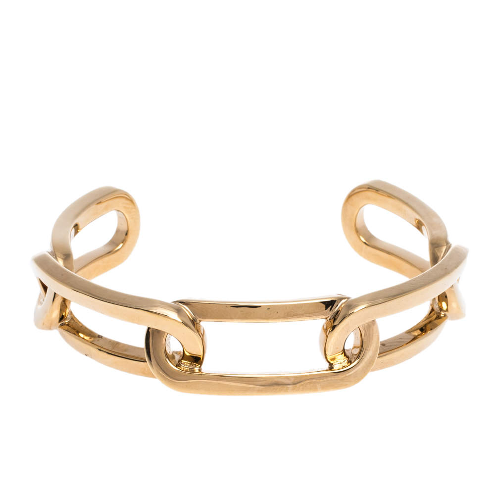 Burberry Chain Link Motif Gold Tone Open Cuff Bracelet L