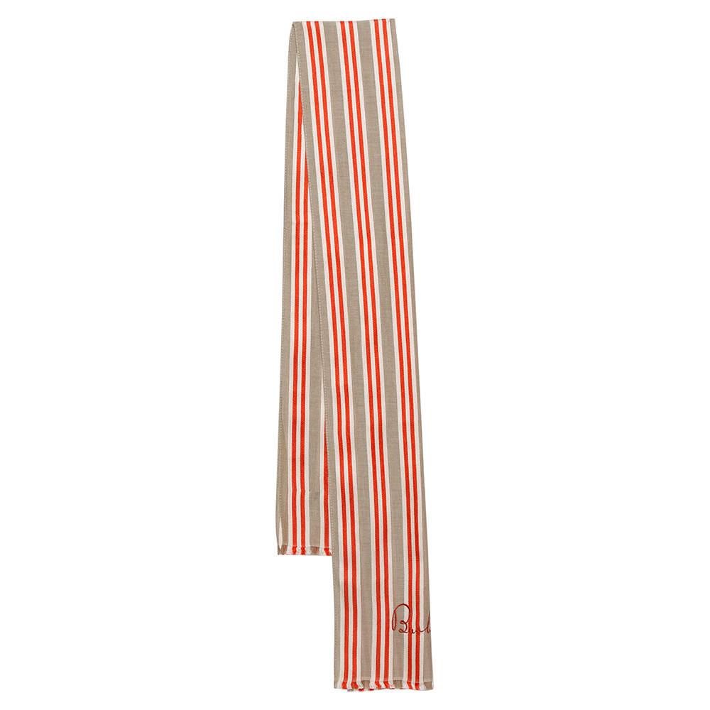 Burberry Orange/Beige Stripe Silk Blend Neck Scarf