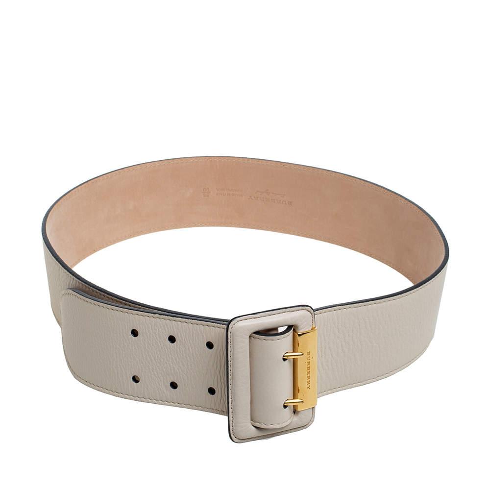 Burberry Light Beige Leather Cecile Waist Belt 90CM