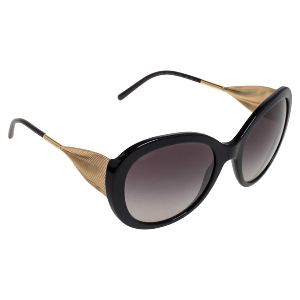 Burberry Black / Grey Gradient B 4191 Ribbon Detail Oversized Sunglasses