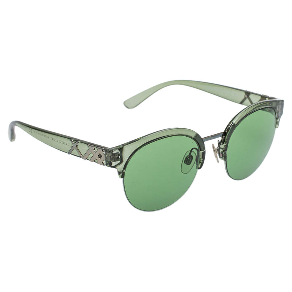 Burberry Green Novacheck/ Green B 4241 Clubmaster Sunglasses