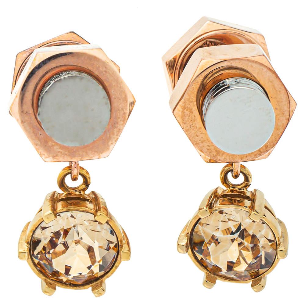 Burberry Two Tone Crystal Nut & Bolt Drop Earrings