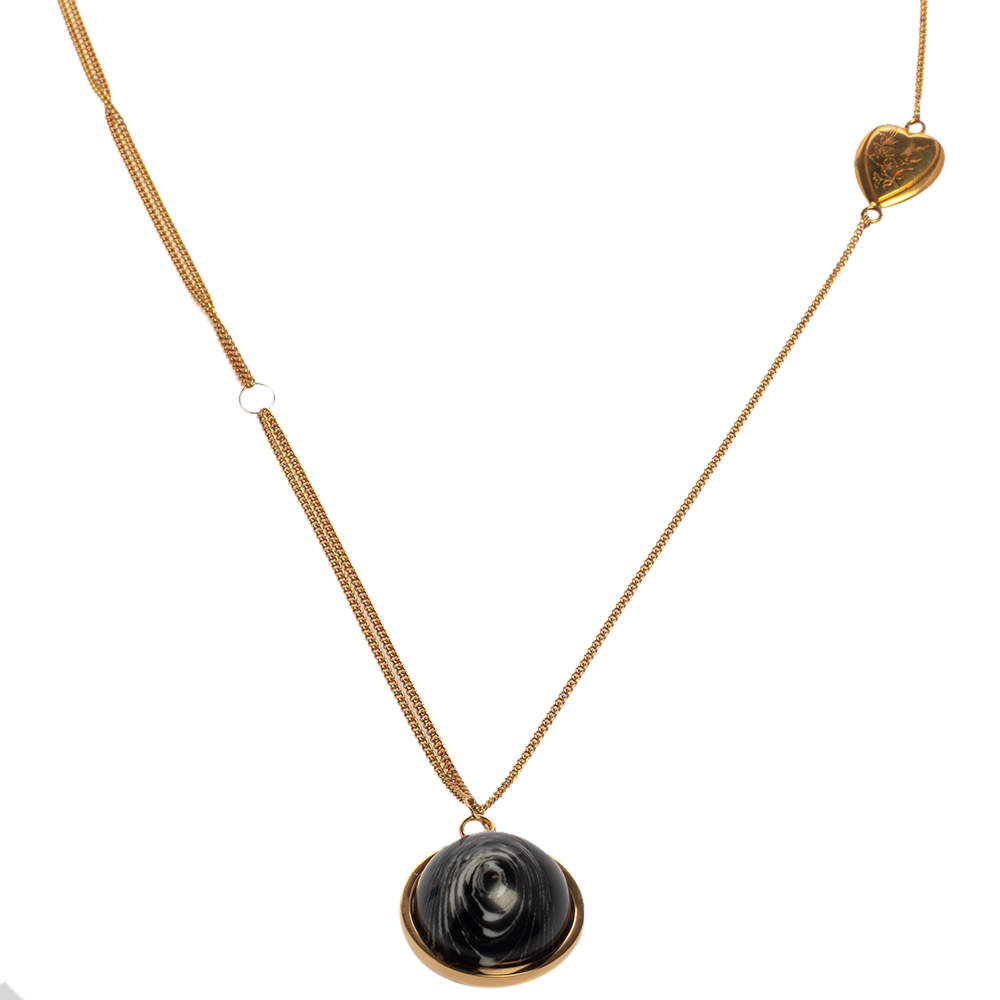 Burberry Gold Plated Heart and Marbled Resin Charm Chain Necklace