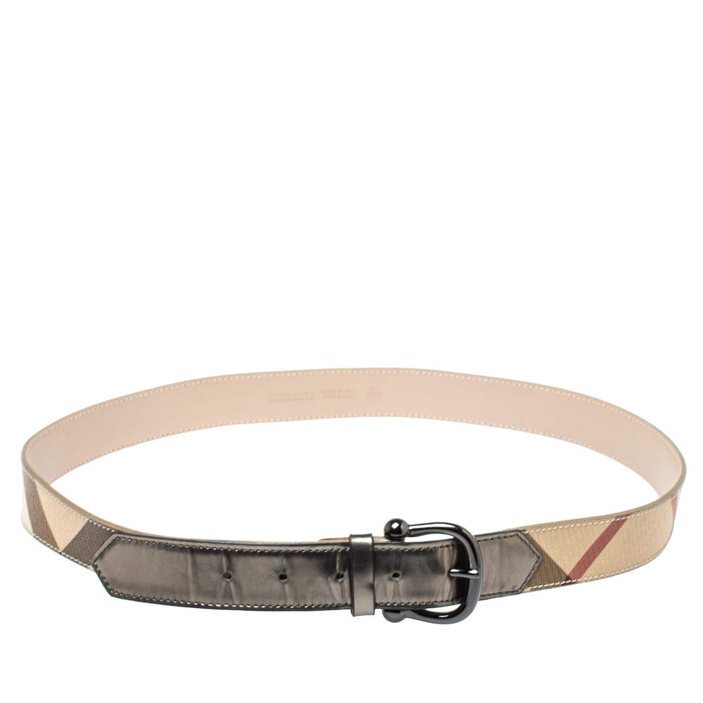 Burberry Beige/Metallic Grey Check Canvas and Leather Belt 100CM