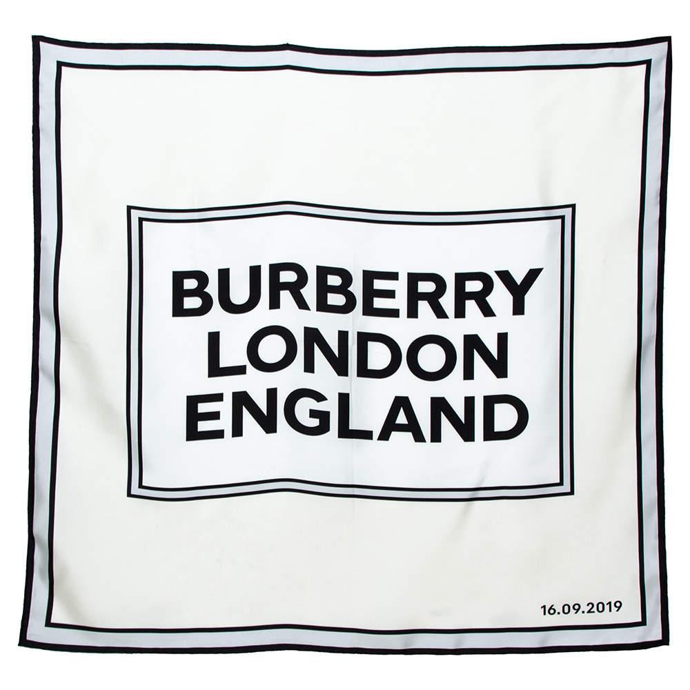 Burberry Cream Logo Print Silk Square Scarf