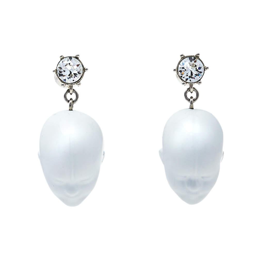 Burberry White Resin Palladium Plated Doll Head Drop Earrings